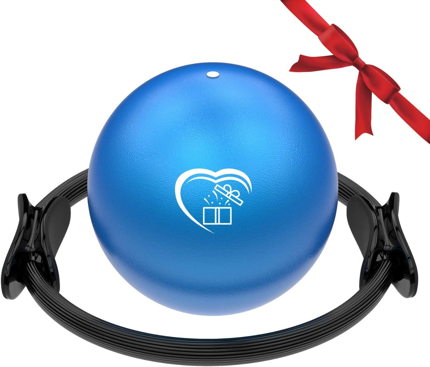Love At Home Superior Workout Set - Unbreakable Pilates Ring and Mini Pilates Ball - Yoga, Stretching, Arms, Thighs, Leg, Abs Training - Pilates Magic Circle and Yoga Ball Set for Men, Women
