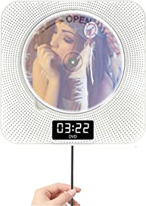 Portable Bluetooth DVD/CD Player, Wall-Mounted DVDs Player 1080p Dual Pull Switch, Home with Remote Control and FM Radio and Timer USB and AV Output and LCD Display White