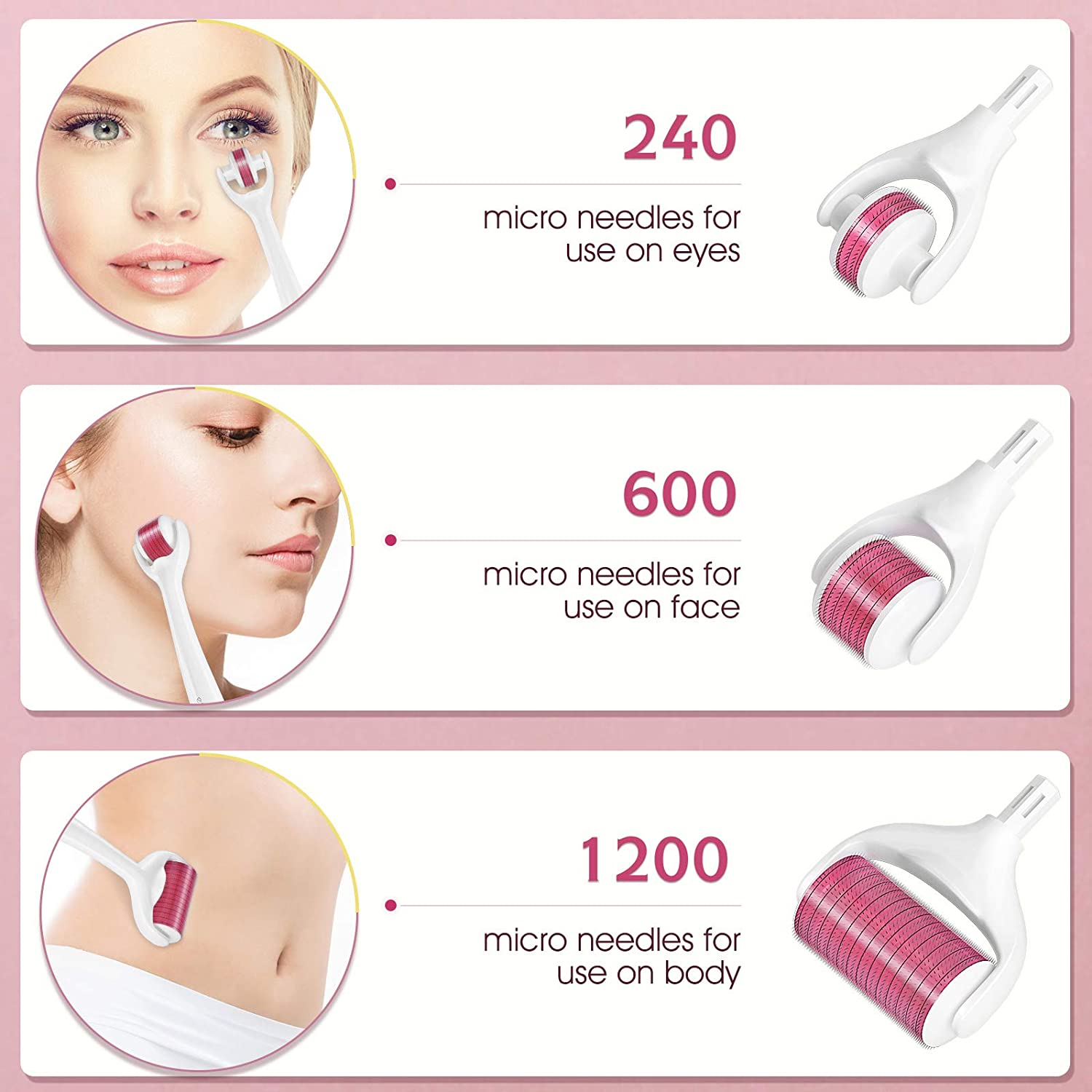 Microneedling Roller, Derma Roller Quartz Face Massager Set with 3 Replaceable Heads for Skin Care (Rose)
