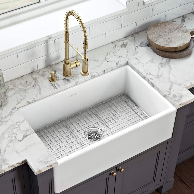 Ruvati 33 X 20 Inch Fireclay Reversible Farmhouse Apron Front Kitchen Sink Single Bowl White Rvl2300wh