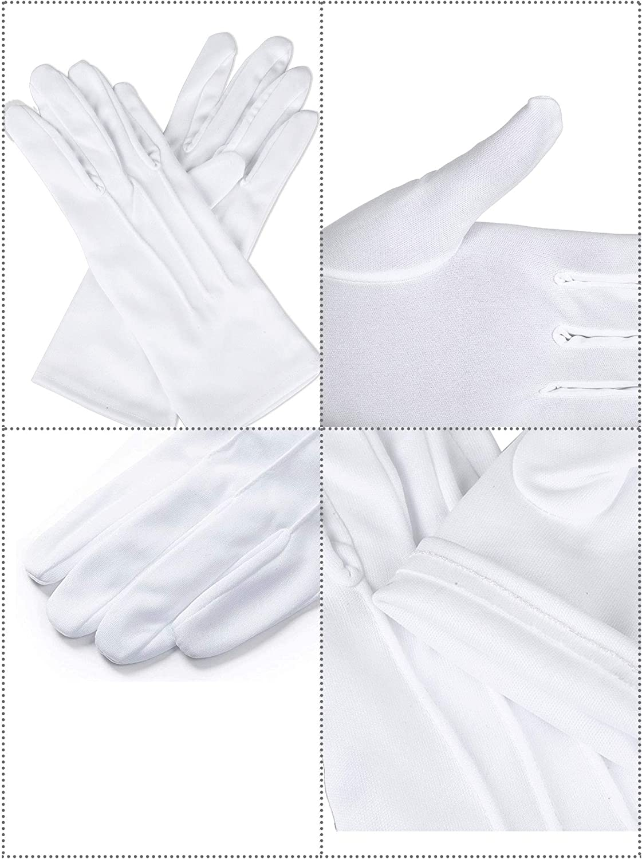 4 Paia Guanti Adulto Uniforme di Spandex Guanti Vestito Guanto per la Polizia Formale Smoking Guardia Parade Costume