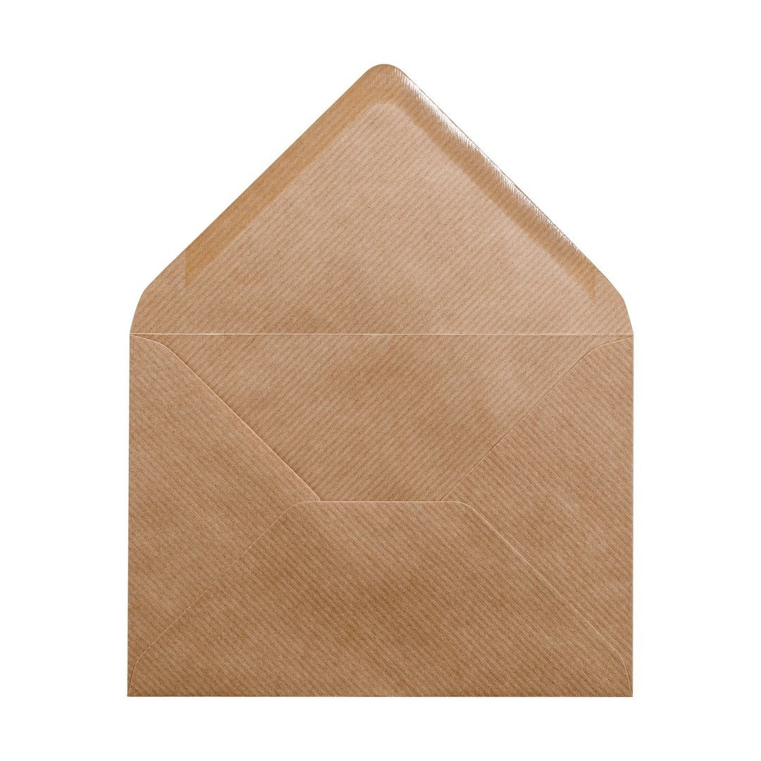 Kraftpapier f/ür C6 Pocket fold Karten GERIPPT Kuvert gummierter Verschluss nassklebend Umschlag B6 BRAUN 50er Pack