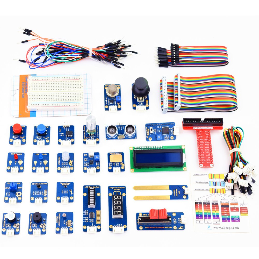 Adeept 24 Modules Sensor Kit For Raspberry Pi 3 2 B Ds18b20 Wiringpi Encoder Robot Projects Starter With Tutorials C And Python Code 95 Pages Pdf Guidebook