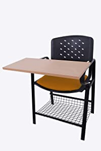 Finch Fox Powder Coated Heavy Frame Writing Chair with PP Back and Seat, 28.0 X 14.0 X 18.0-Inch (Brown and Black)