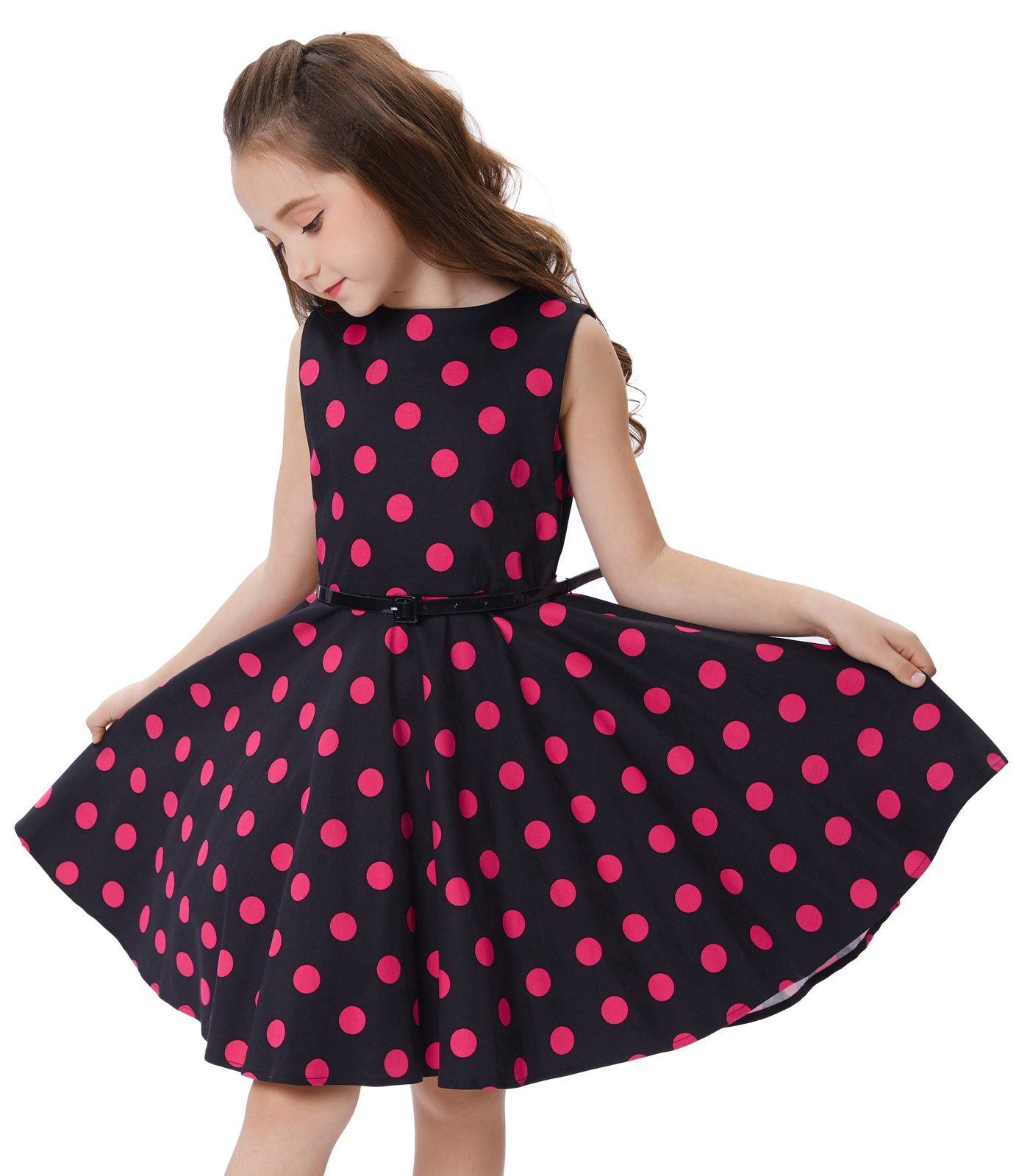 86b111795ec5 Kate Kasin Girls Sleeveless Polk Dot Casual Swing Dresses with Belt product  image