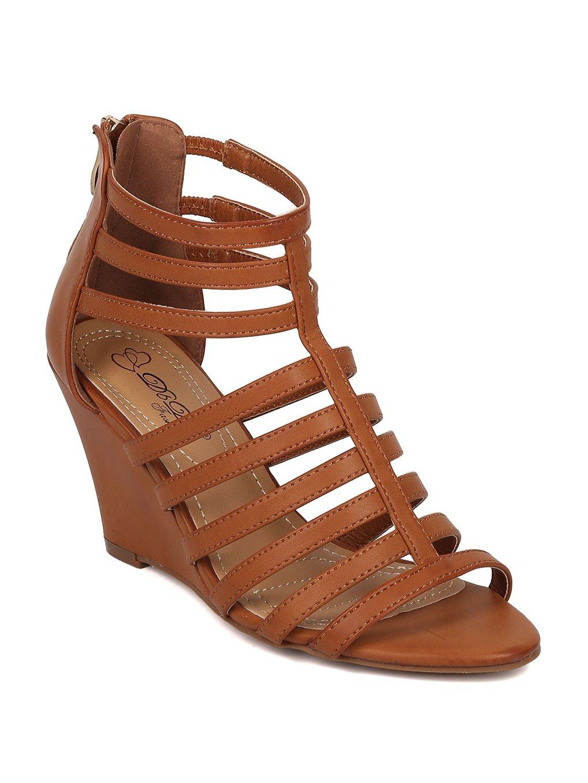 Alrisco Women Leatherette Open Toe Strappy Wedge Sandal HB32 B072Q6KRYJ 9 M US|Camel Leatherette