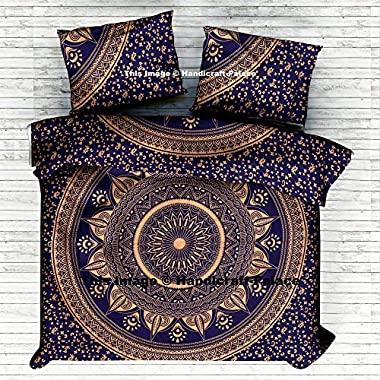 Ombre Mandala Queen Quilt Cover Donna Cover With 2 Pillows Beautiful Exclusive By Handicraft-Palace Indian mandala Duvet Cover Bedding Set