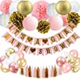 BRT Baby Shower Decorations for Girl - Pink and Gold Baby Shower Decoration It€s A girl & Baby Shower Banner with Paper Lan