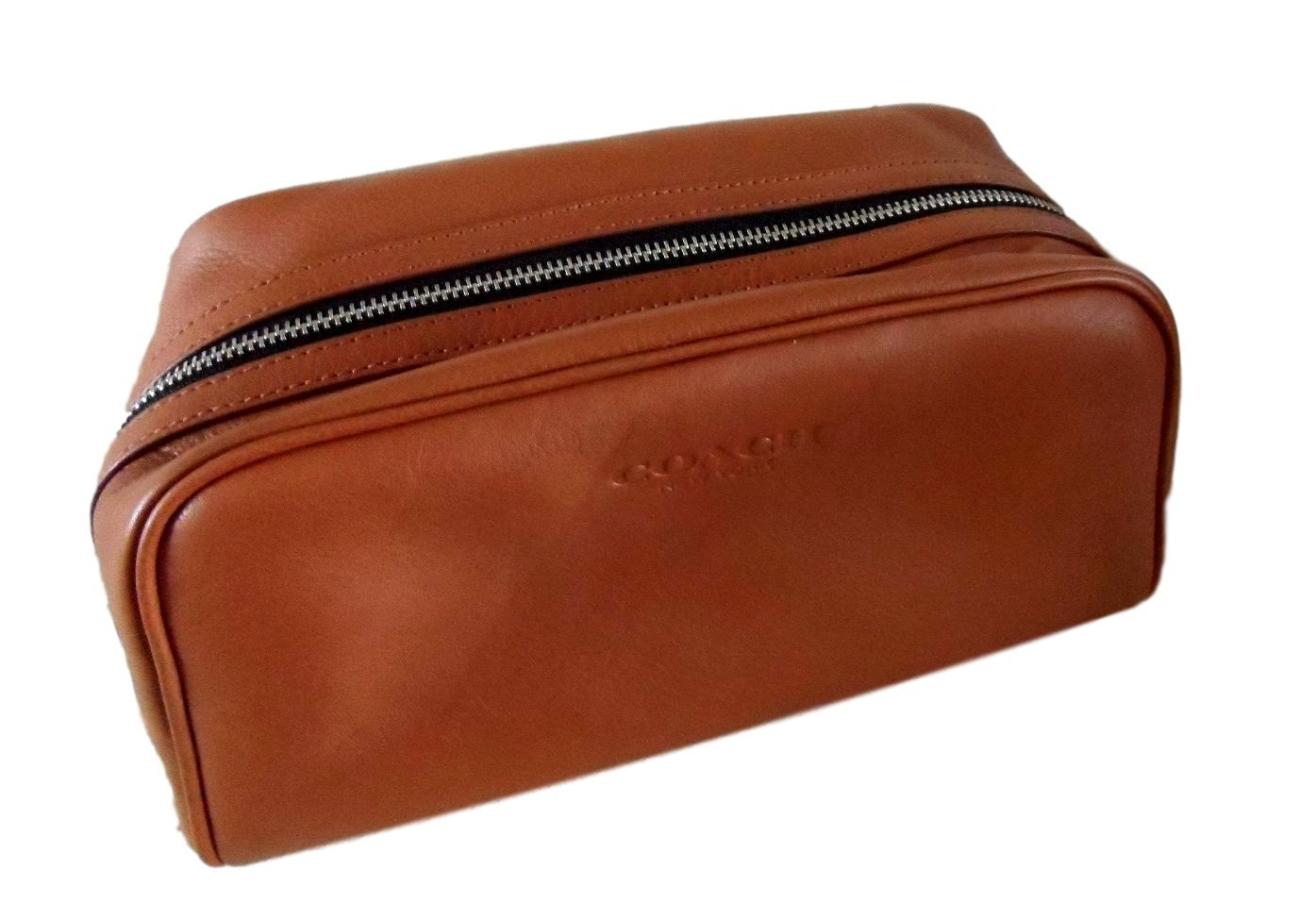 68f646d97497 ... spain coach leather weekend travel dopp toiletries kit in saddle tan  93445 8ca0a 8d10c