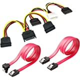 SSD / SATA III Hard Drive Connection Cables (1x Molex to Dual 15 Pin SATA Power Splitter Cable, 1x 15 Pin to Dual 15 Pin SATA Power Splitter Cable, 2x SATA Data Cables) (2xPower Cable+2X Data Cables)