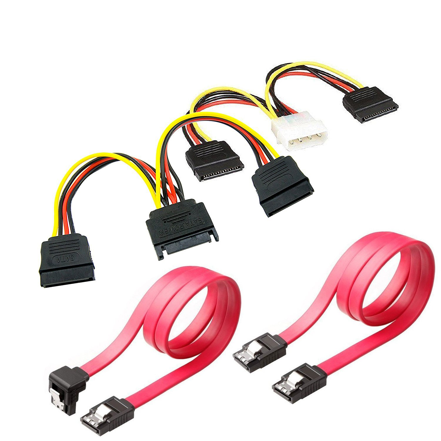 SSD/SATA III Hard Drive Connection Cables (1x Molex to Dual 15 Pin SATA Power Splitter Cable, 1 x 15 Pin to Dual 15 Pin SATA Power Splitter Cable, 2X SATA Data Cables) (2xPower Cable+2X Data Cables) TOTOVIN