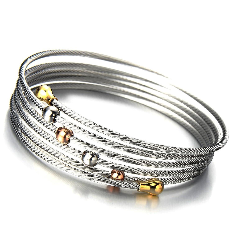 Elástica Ajustable Diseño Moderno Pulsera de Mujer Acero Inoxidable Multi hilo Cable