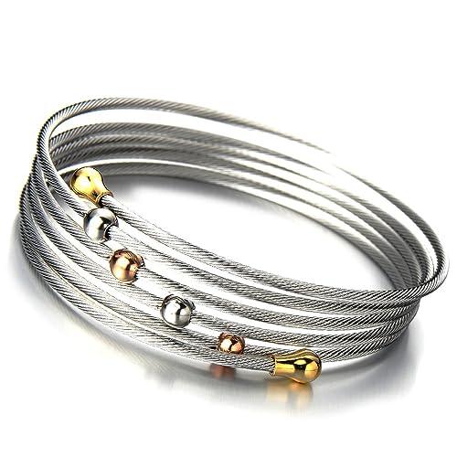 COOLSTEELANDBEYOND Elástica Ajustable Diseño Moderno, Pulsera de Mujer, Acero Inoxidable, Multi-hilo Cable de Acero, Oro Plata Dos Tonos