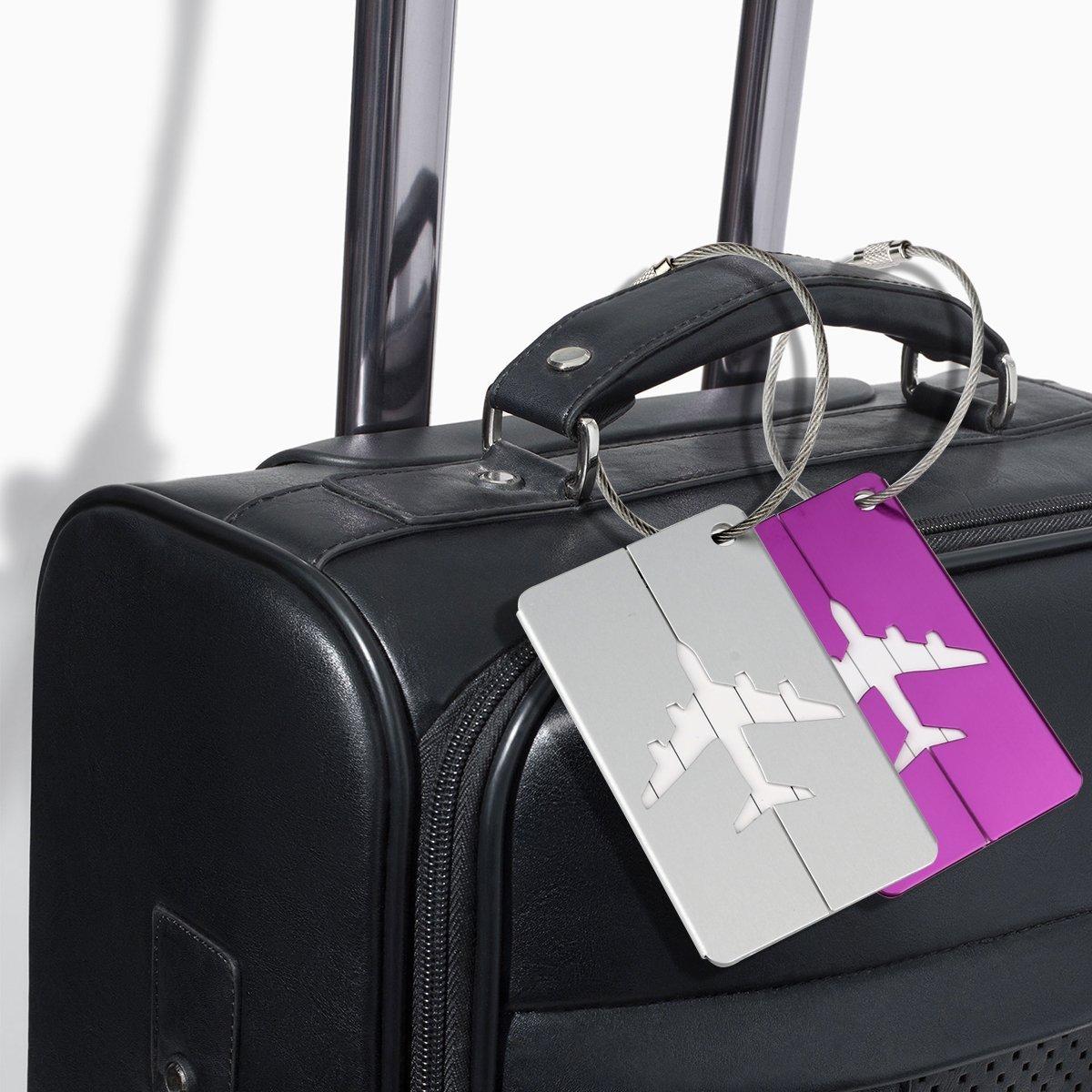 Etiquette,Bagages Lors de Voyage Aluminium Multicolore 6 pi/èce Kit de 6 Etiquettes de Voyage Avion Mod/èle M/étal Etiquettes /étiquette pour Bagages Valises Portes
