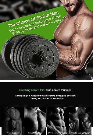 Yosoo Profesional Set de Pesas para Entrenamineto de Aptitud, Mancuernas para Ejercicio de Bíceps en Casa o Gimnasio (30KG): Amazon.es: Deportes y aire ...
