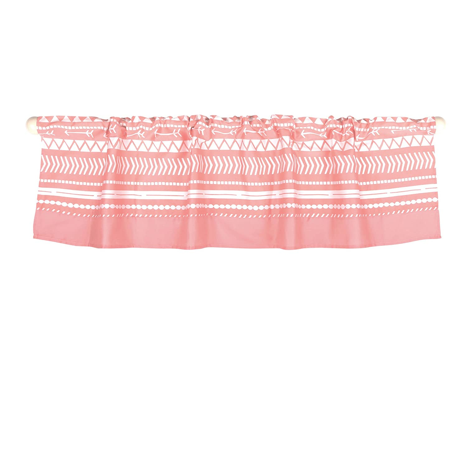 Coral Pink Tribal Print Window Valance by The Peanut Shell - 100% Cotton Sateen Farallon Brands WVTBCLCL