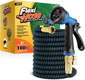 Flexi Hose with 8 Function Nozzle, 100 ft. Lightweight Expandable Garden Hose, No-Kink Flexibility, 3/4 Inch Solid Brass Fittings and Double Latex Core, Blue/Black