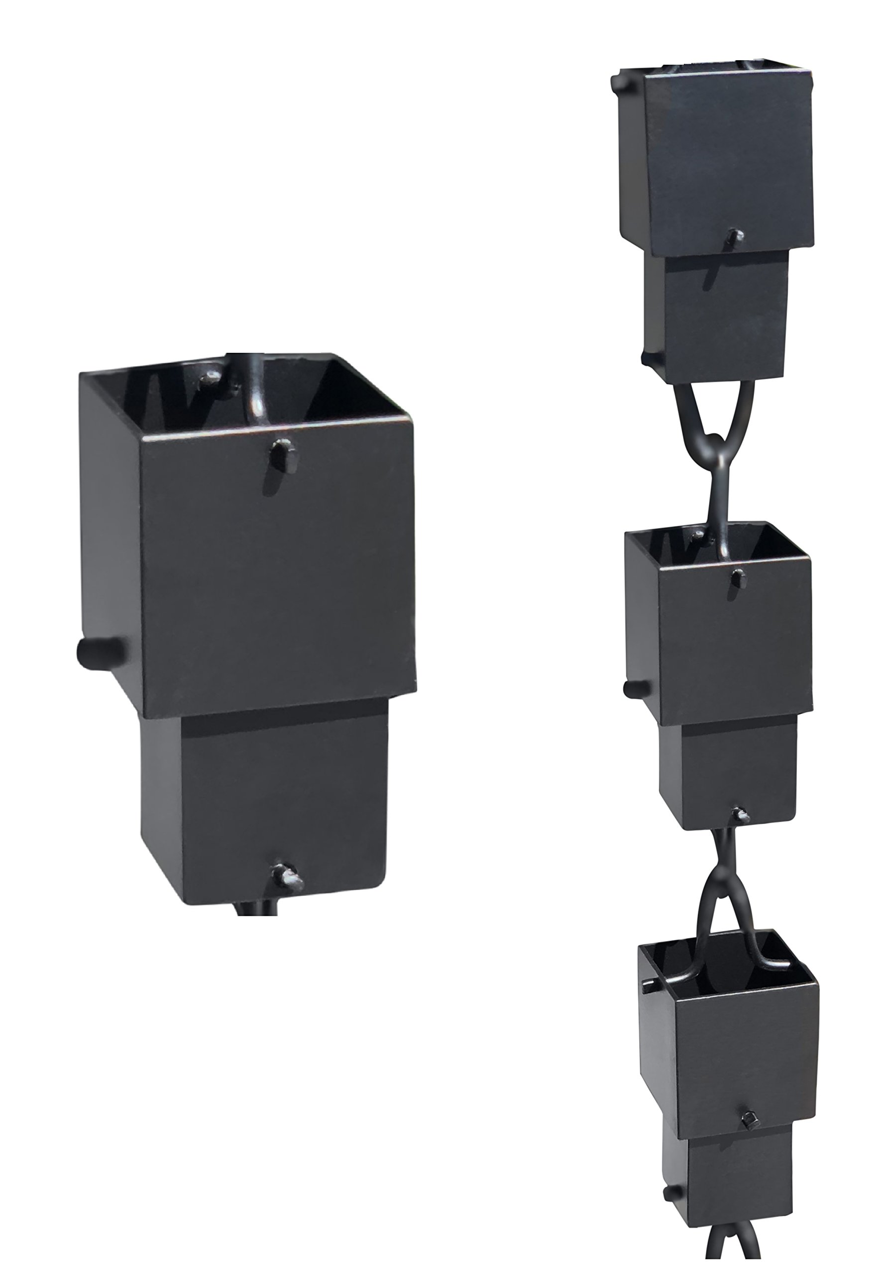 Monarch Aluminum Square Cups Rain Chain, 8-1/2 Feet Length (Black Powder Coated)