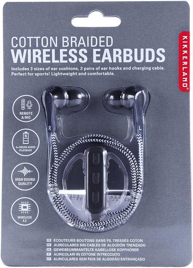 Kikkerland – negro algodón trenzado auriculares inalámbricos – Bluetooth inalámbrico Heaphones – Alta calidad de sonido: Amazon.es: Electrónica