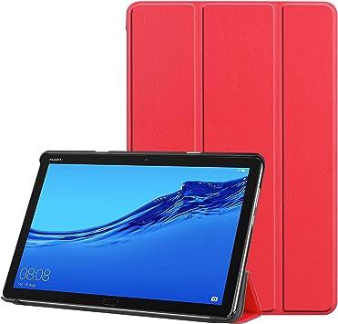 3-Plegable Cuero Funda para Huawei MediaPad T5, 10-Pulgadas FOL PU Ultra Ajustado Protector Auto Dormir/Despertar Magnético Flip Tableta Estuche para Media Pad T5 10,1 2018 Cáscara (Rojo): Amazon.es: Electrónica