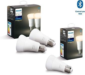 Philips Hue White Pack de 3 bombillas LED inteligentes E27, luz ...