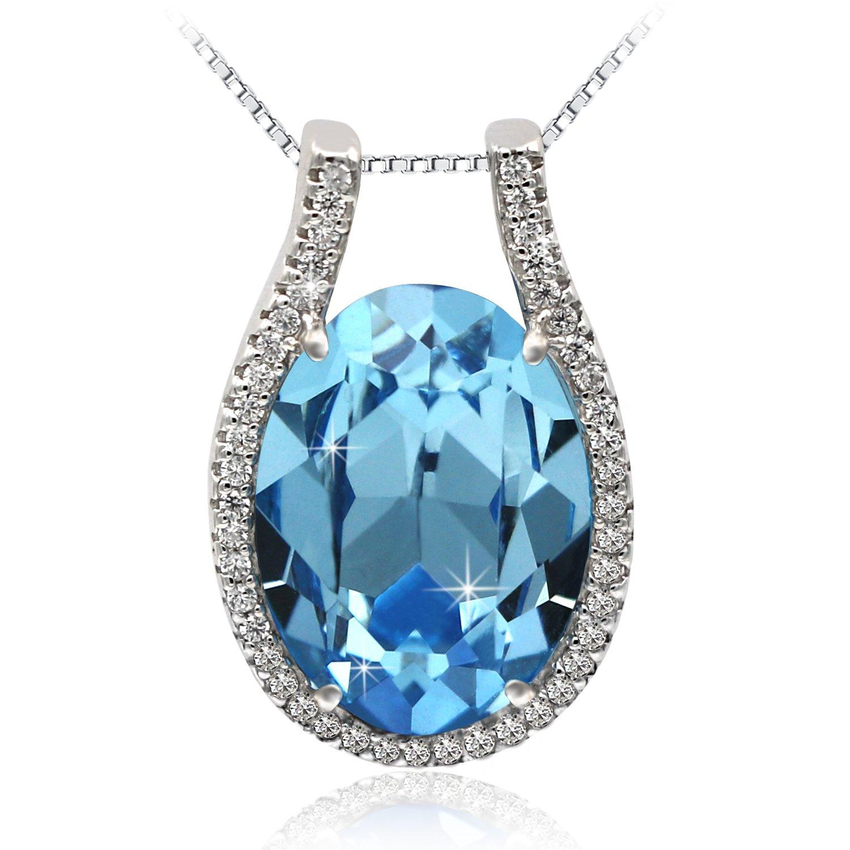3eb9edcb8 Amazon.com: JOLICE Pendant Necklace Swarovski Ocean Blue Oval Crystal S925  Sterling Silver Sapphire: Jewelry