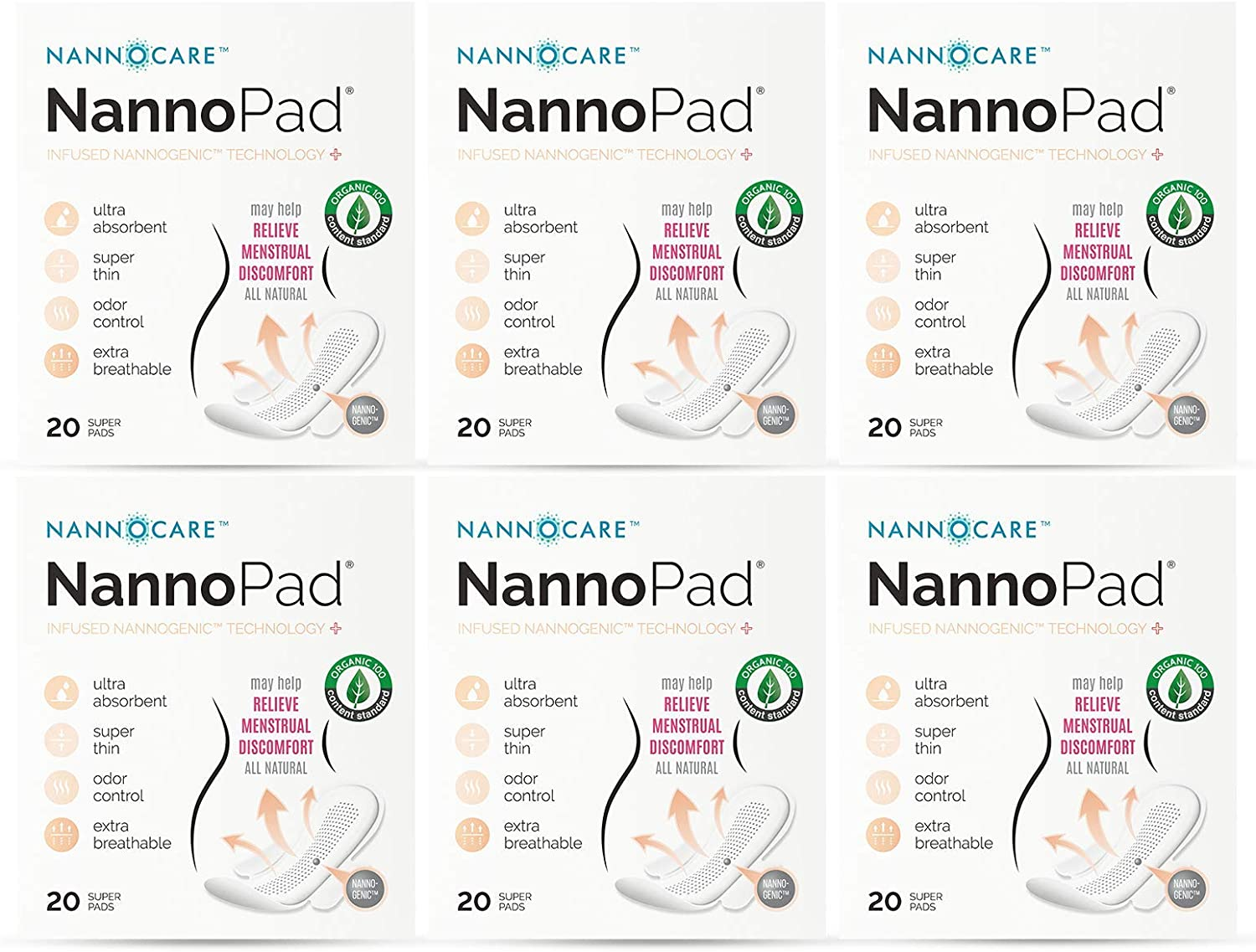 NannoPad Super - Certified Organic Cotton - Naturally Relieve Your Discomfort - No Fragrances, Chemicals or Dyes - Odor-Control and Breathable 6 Pack (120 Pads)