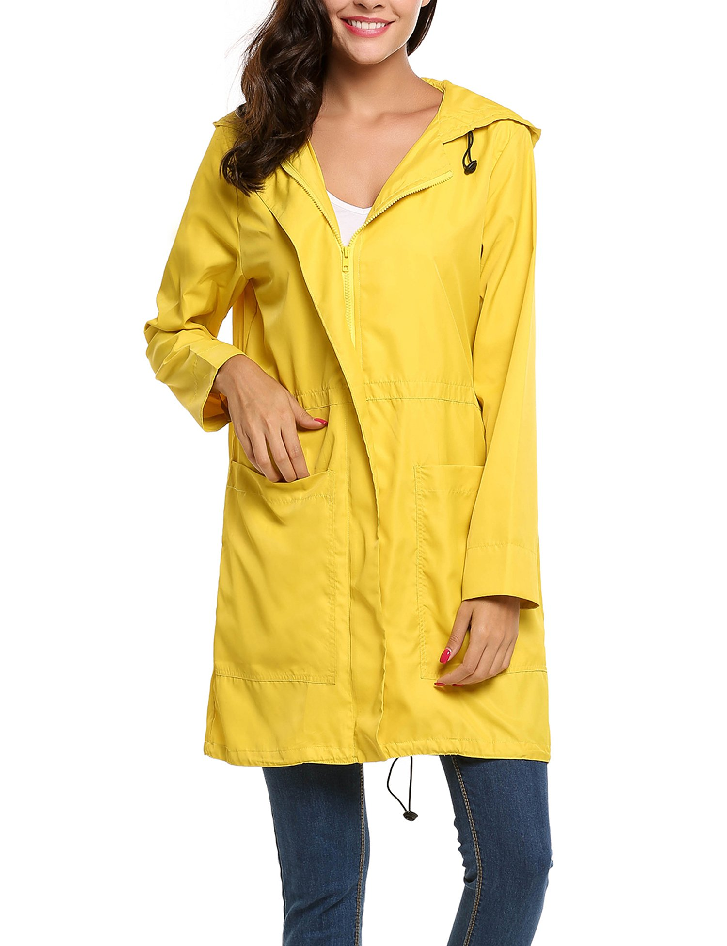 Avernon Lightweight Waterproof Rain Coat with Hooded Long Sleeve Hiking Jacket