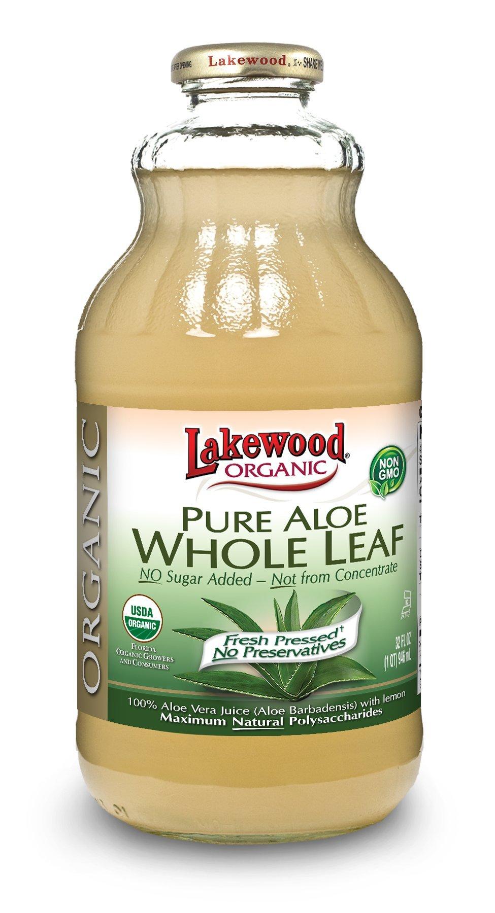 Lakewood Organic  Pure Whole Leaf Aloe, 32 Ounce (Pack of 6)