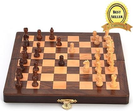 TRUSTFUL Wooden Handicraft Designer Chess Board (20x4x10cm, Multicolour)