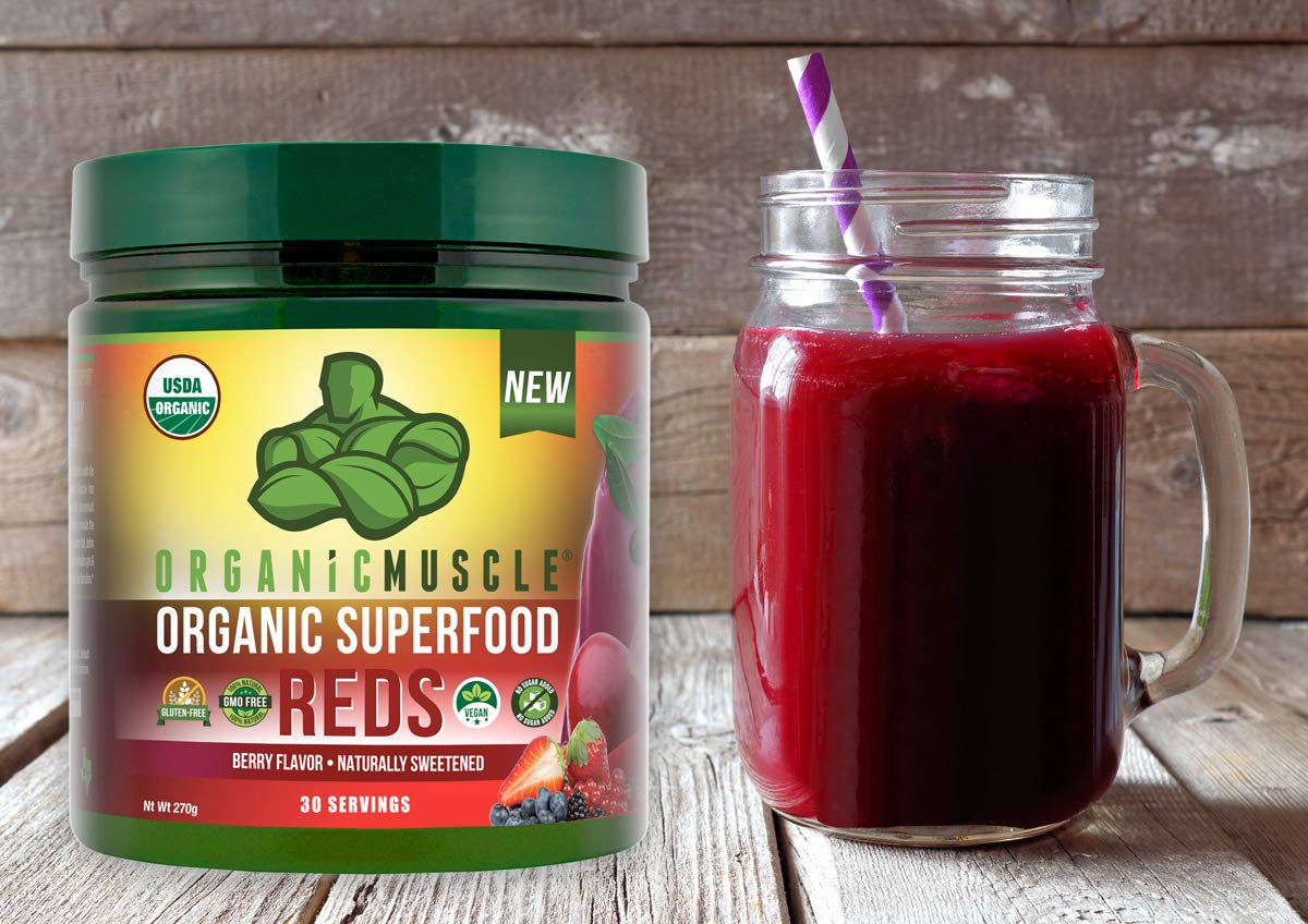 Certified Organic Superfood Reds Powder | Vital Reds Juice Supplement for Detox, Energy, Focus, Digestion, Metabolic Boost & Anti-Aging | Vegan, Non-GMO, Berry Flavor, 30 Day Supply | ORGANIC MUSCLE by Organic Muscle (Image #5)