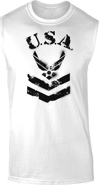 TooLoud USA Military Star Stencil Logo Muscle Shirt
