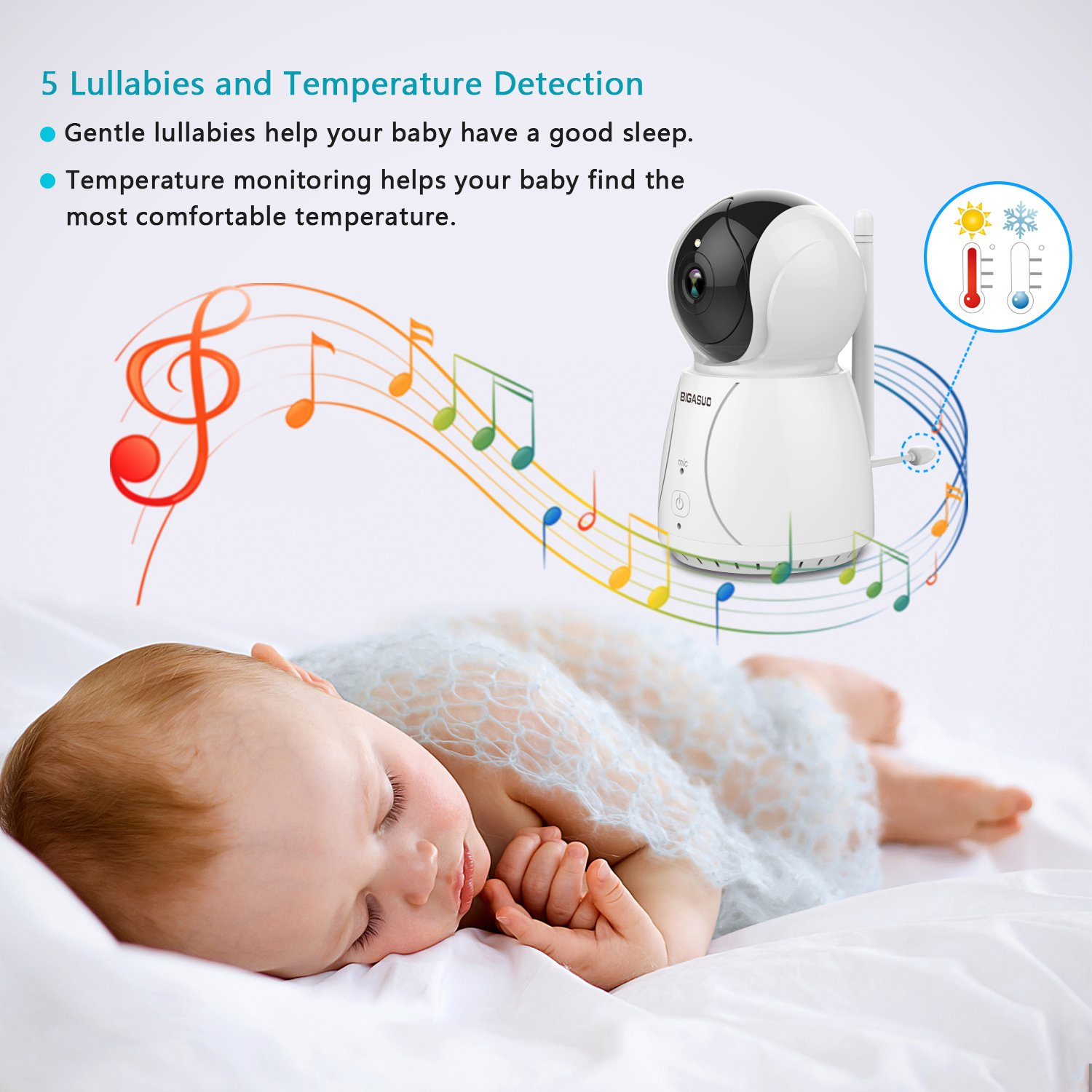 BIGASUO Upgrade Baby Monitor, Video Baby Monitor 7'' Large LCD Screen, Baby Monitors with Camera and Audio Night Vision, Support Multi Camera, Two Way Talk Temperature Sensor, Built-in Lullabies by BIGASUO (Image #5)
