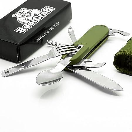 BearCraft Cubiertos Camping | 7 en 1 cuchillo plegable multifuncional con tenedor y cuchara de cuchillo | Cubiertos para acampar de viaje Outdoor ...