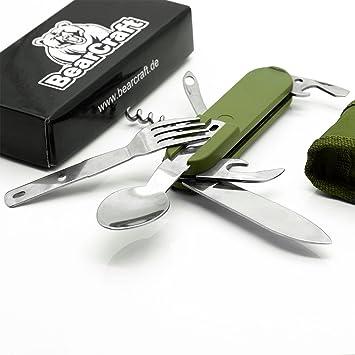 BearCraft Cubiertos Camping | 7 en 1 cuchillo plegable multifuncional con tenedor y cuchara de cuchillo