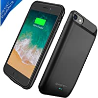 "iPhone 8/7 / 6S Battery Charger Case, Newdery 5000mAh Rechargeable External Portable Power Charging Case for (4.7"") iPhone Built-in Magnet Metal Supported Lightning Headphones –Black"
