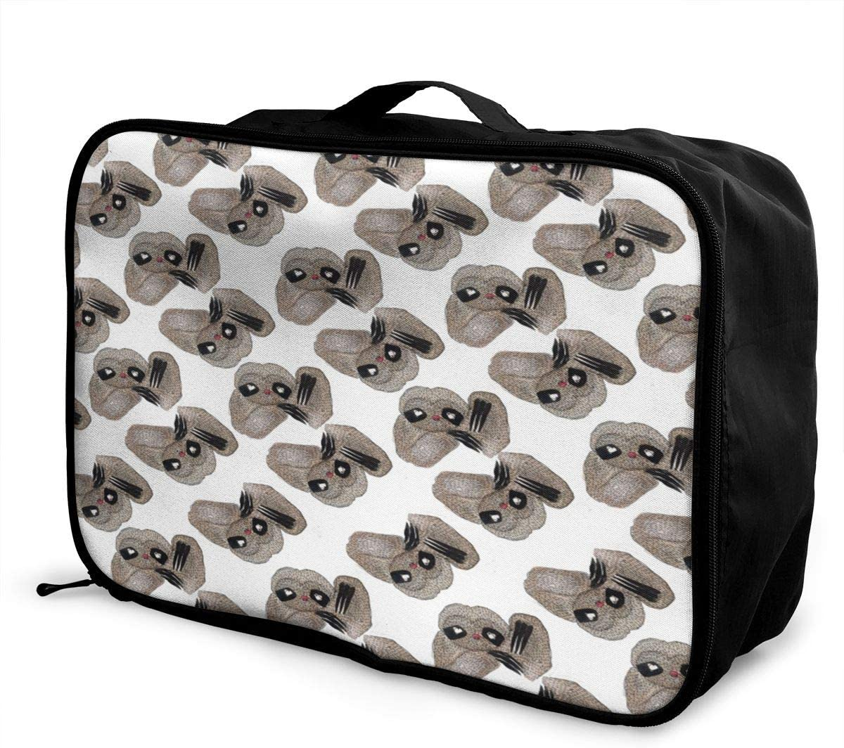 Sloth Pattern Travel Carry-on Luggage Weekender Bag Overnight Tote Flight Duffel In Trolley Handle