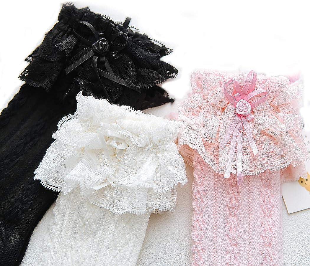 HAOWANG Children Lace Ruffle Socks Baby Frilly Princess Bowknot Twist High Socks