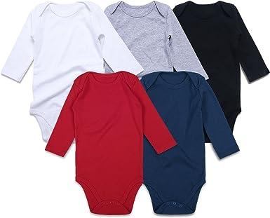 RomperinBox Baby Turtleneck Bodysuit Long Sleeve Infant Unisex Solid Plain Onsies for Toddler Boys Girls 1-Pack