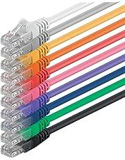 0,5m - 10 colores - 10 piezas - Cable de red Ethernet con conectores RJ45 CAT6 CAT 6 Cat.6 1000 Mbit/s