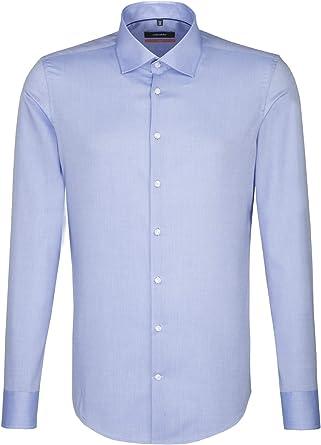 Seidensticker Slim Langarm Mit Kent-Kragen Bügelfrei Uni Camisa de Oficina para Hombre