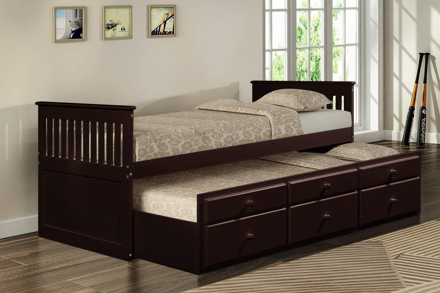 Captain s Bed Twin Daybed with Trundle Bed and Storage Drawers, White Espresso