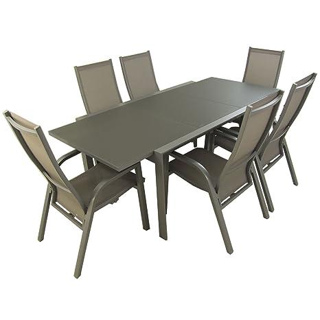Conjunto para jardín, Mesa Extensible 160/210 y 6 sillones ...