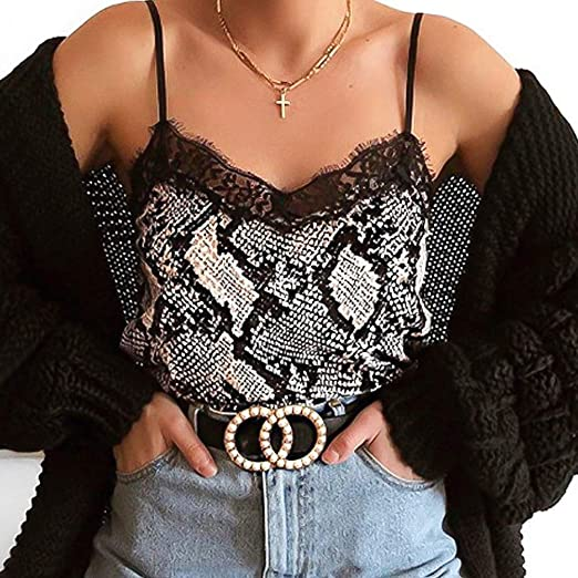 Snake Printed Women V Neck Sleeveless Camisole Strappy Vest Top Blouse Beach