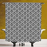Cool Shower Curtain 3.0 by SCOCICI [ Damask,Flower Arrangement with Antique Leaf Motifs Monochrome Surreal and Dotted Art Style Decorative,Black White ] Bathroom Accessories with Hooks