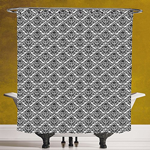 Cool Shower Curtain 3.0 by SCOCICI [ Damask,Flower Arrangement with Antique Leaf Motifs Monochrome Surreal and Dotted Art Style Decorative,Black White ] Bathroom Accessories with Hooks by SCOCICI