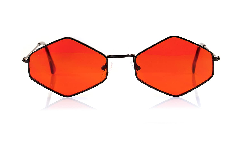 44f531b7f0e Amazon.com  FBL Minimalist Diamond Hexagonal Sunglasses Smoke Pop Color  Tinted A112 (Black Red)  Clothing