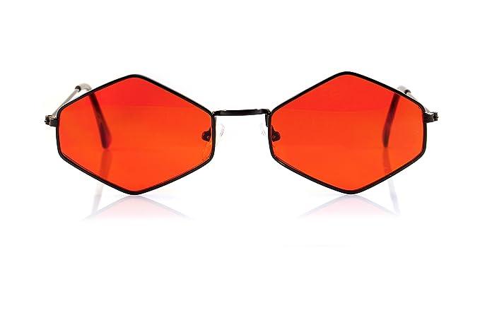 57d2aebab FBL Minimalist Diamond Hexagonal Sunglasses Smoke Pop Color Tinted A112 ( Black/Red)