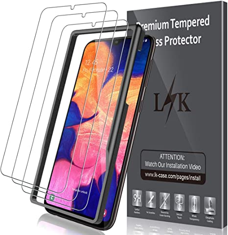 Imagen deLK Protector de Pantalla para Samsung Galaxy A10 Cristal Templado, [3 Unidades] [9H Dureza] [Equipado con Marco de posicionamiento] [Resistente a Arañazos] Vidrio Templado Screen Protector