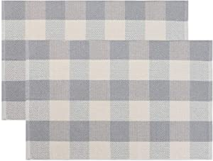 Seavish Cotton Buffalo Checkered Rug,2 Piece Set Grey and White Plaid Rug Handmade Moven Runner Doormat 2'x3',Machine Washable Carpet Welcome Mat for Outdoor/Porch/Kitchen/Entry Way/Laundry